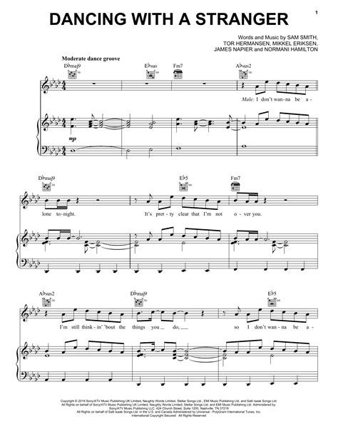 Dancing With A Stranger Sam Smith Normani Easy Piano  music sheet