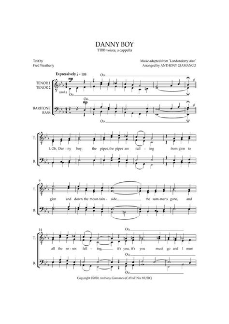 Danny Boy A Cappella Ttbb  music sheet