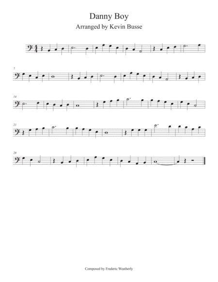 Danny Boy Easy Key Of C Trombone  music sheet