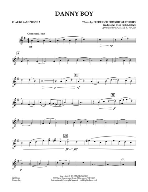 Danny Boy For Solo Saxophone Alto And Piano  music sheet