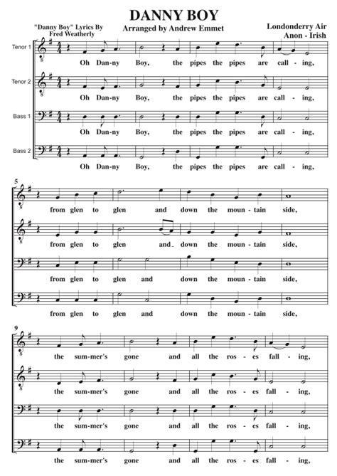 Danny Boy Ttbb A Cappella Key E Flat  music sheet