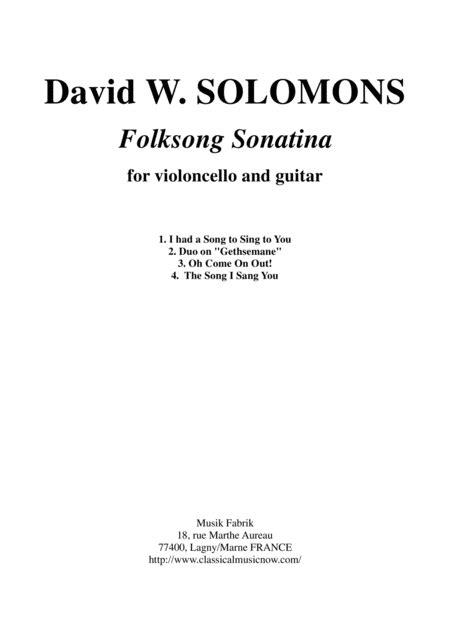 David Warin Solomons Folksong Sonatina For Cello And Guitar  music sheet