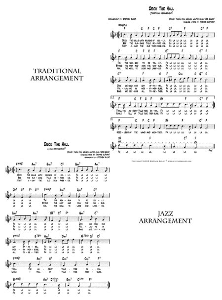 Deck The Hall Lead Sheet Arranged In Traditional And Jazz Style Key Of D  music sheet