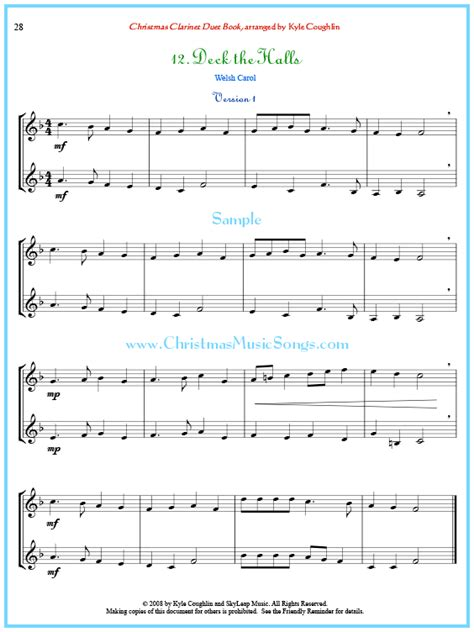 Deck The Halls For Clarinet Duet  music sheet