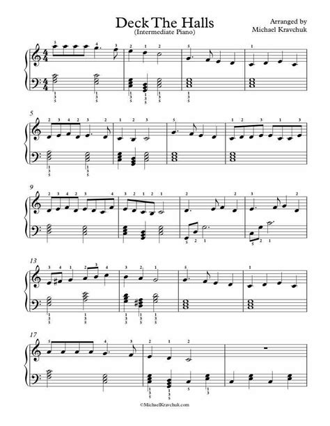 Deck The Halls Piano Solo  music sheet