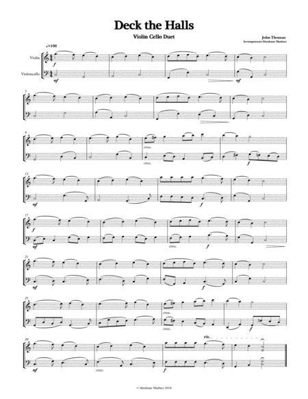 Deck The Halls Violin Cello Duet Three Tonalities Included  music sheet