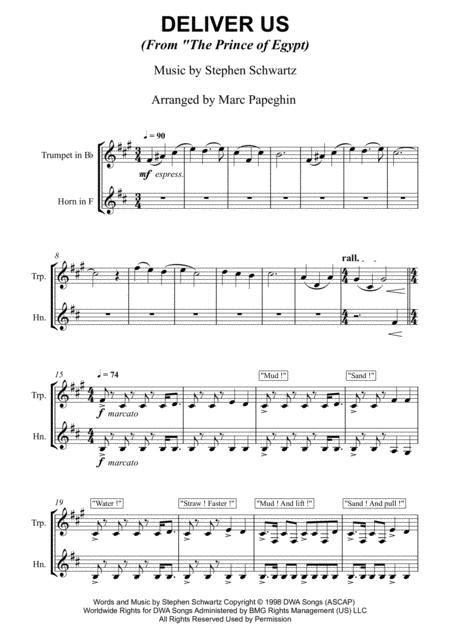 Deliver Us From The Prince Of Egypt French Horn Trumpet Duet  music sheet