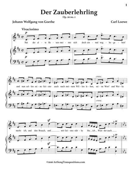 Der Zauberlehrling Op 20 No 3 D Major  music sheet