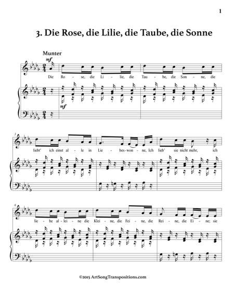 Die Rose Die Lilie Die Taube Die Sonne Op 48 No 3 D Major  music sheet