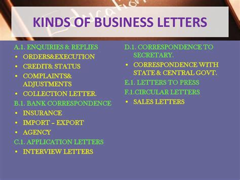different types of business letters as well as other
