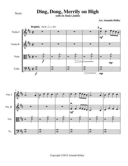 Ding Dong Merrily On High For Strings  music sheet