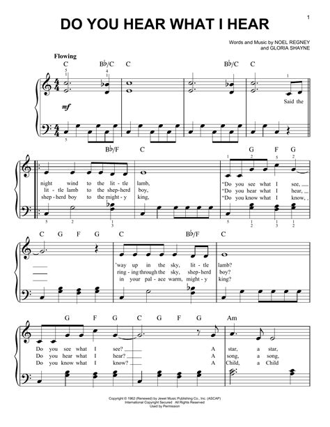 Do You Hear What I Hear For Easy Piano  music sheet