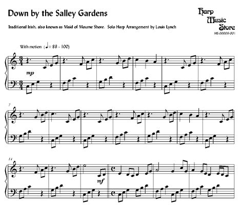 Down By The Sally Gardens Arranged For Lever Or Pedal Harp  music sheet