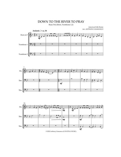 Down To The River To Pray Brass Trio Horn Two Trombones  music sheet