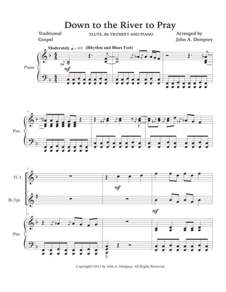 Down To The River To Pray Trio For Flute Trumpet And Piano  music sheet