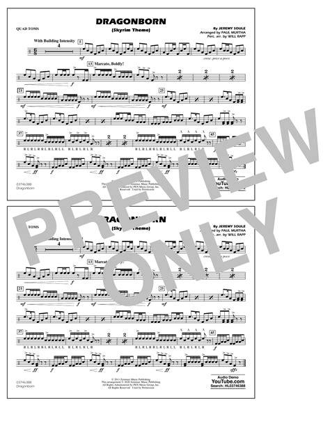 Dragonborn Skyrim Theme Arr Will Rapp Paul Murtha Baritonet C  music sheet