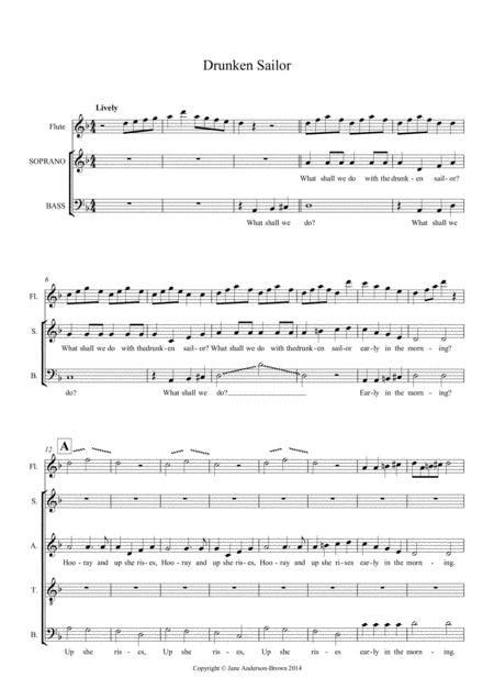 Drunken Sailor Partnered With O Sinner Man Satb  music sheet