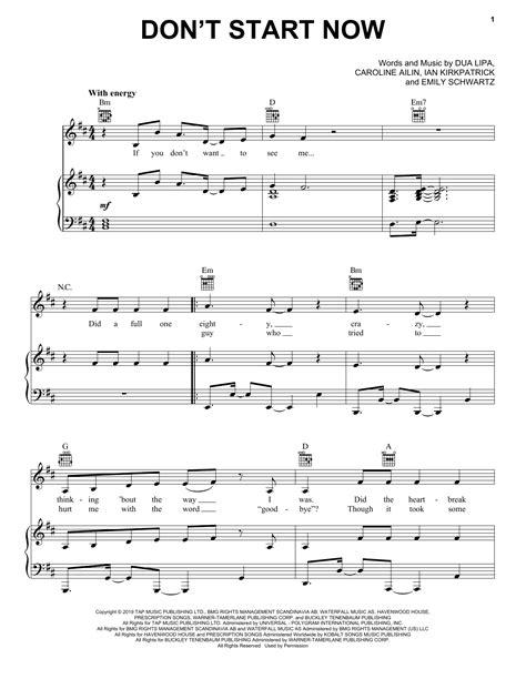 Dua Lipa Dont Start Now Lead Sheet In Eb  music sheet
