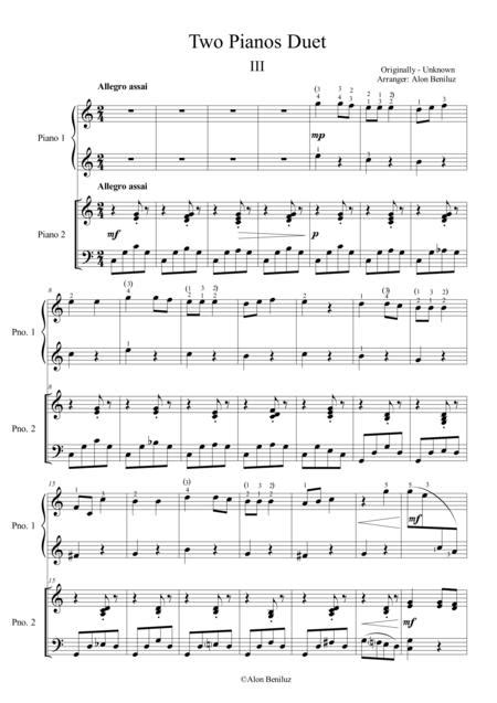 Duet For Two Pianos Chapter Iii In C Major  music sheet