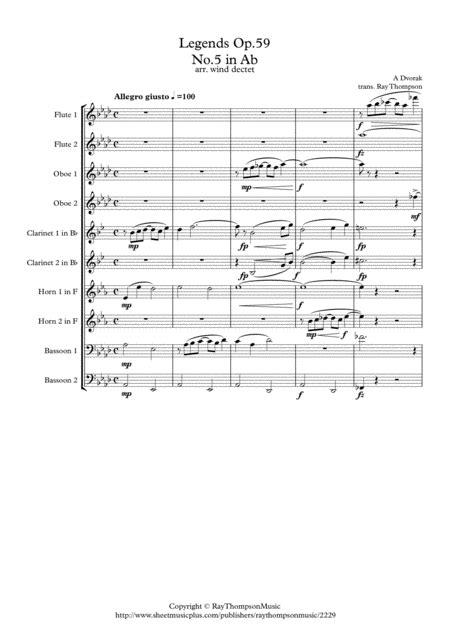 dvorak legends op 59 mvt 5 in ab wind dectet music sheet