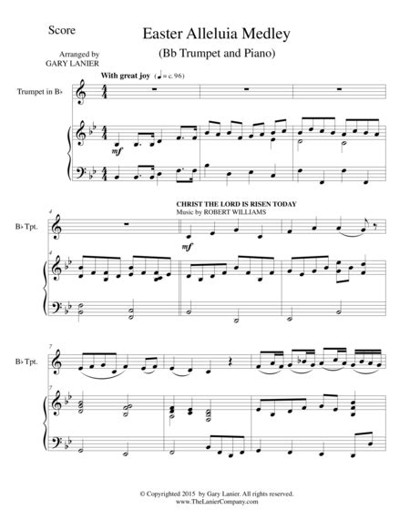 Easter Alleluia Medley Trio Flute Bb Trumpet Piano Score And Parts  music sheet