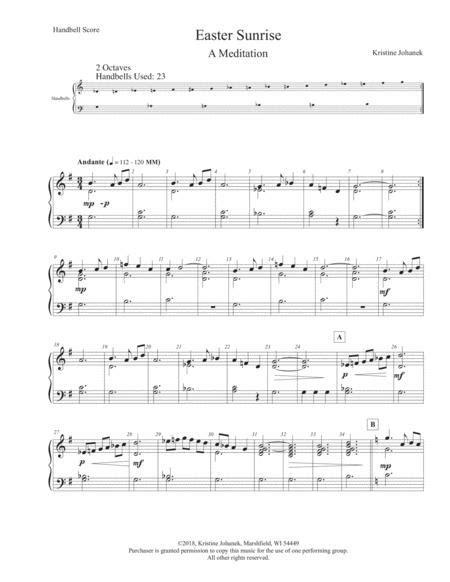 Easter Sunrise A Meditation 2 Octave Handbells Reproducible  music sheet