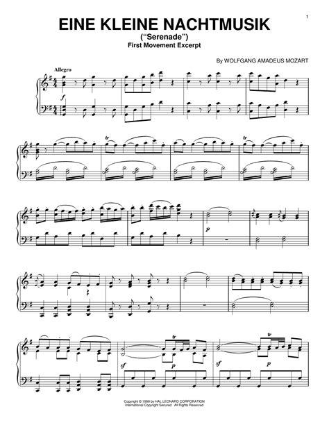 Eine Kleine Nachtmusik 1st Movement For Piano Solo  music sheet