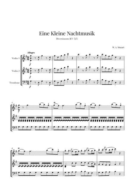 Eine Kleine Nachtmusik For 2 Violins And Trombone  music sheet