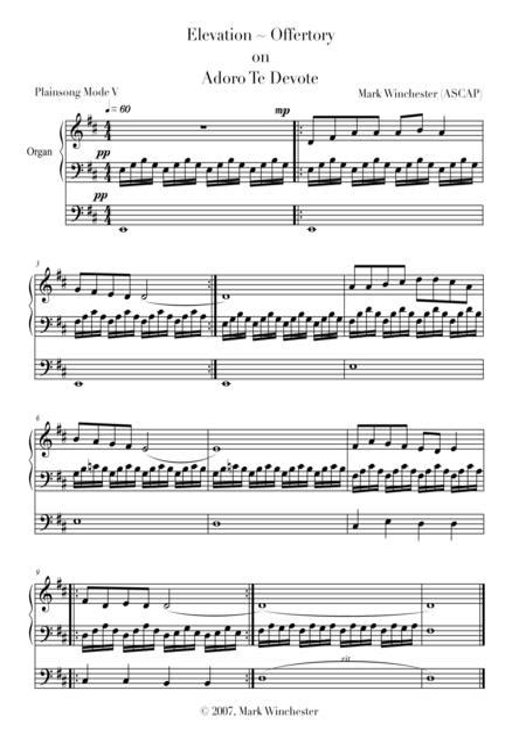 Elevations Offertories For Organ On Chants  music sheet