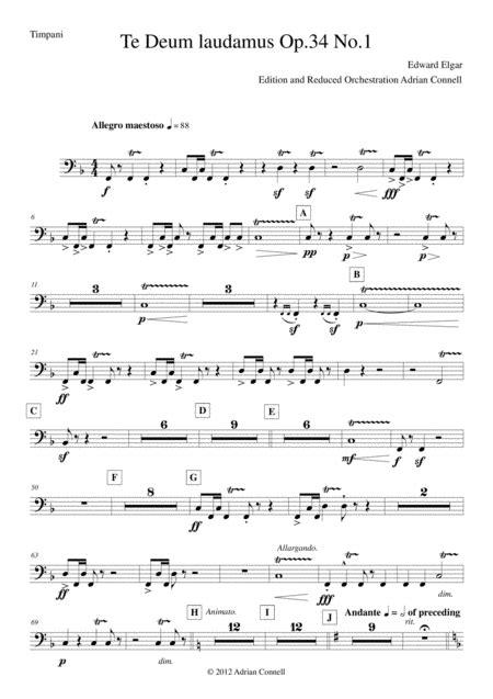 Elgar Te Deum Reduced Orchestration Timpani  music sheet