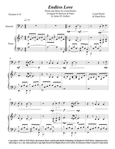 Endless Love Bassoon  music sheet