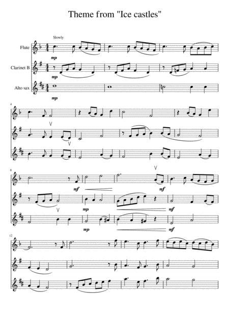 Ensemble For Flute Clarinet Alto Saxophone Ice Castles Theme From Through The Eyes Of Love Score And Parts  music sheet