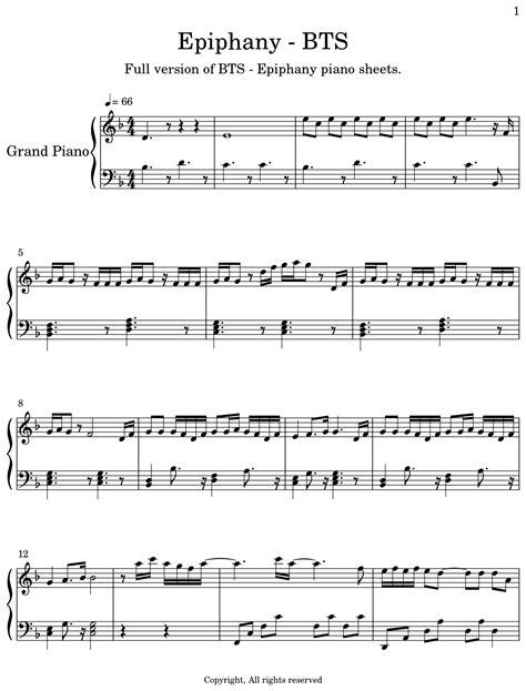 Epiphany Bts Piano  music sheet