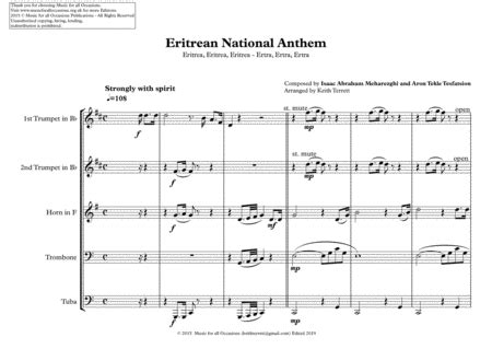 Eritrean National Anthem Ertra Ertra Ertra Tigrinya For Brass Quintet  music sheet