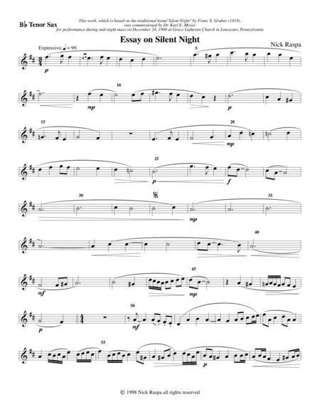 essay on silent night saxophone quartet soprano sax part music sheet