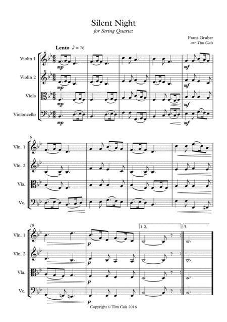 Essay On Silent Night String Quartet Full Set  music sheet