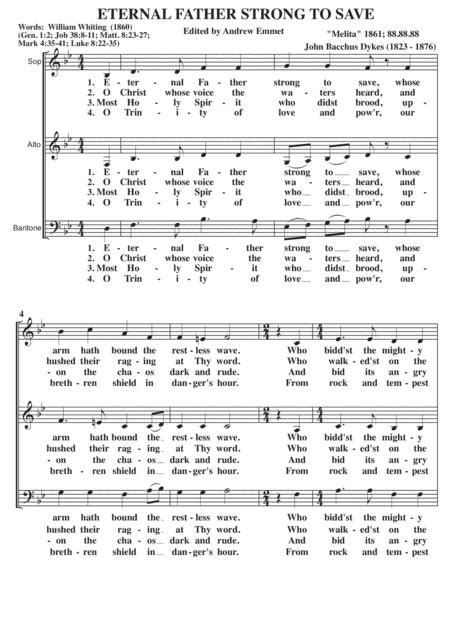 Eternal Father Strong To Save A Cappella Sab  music sheet