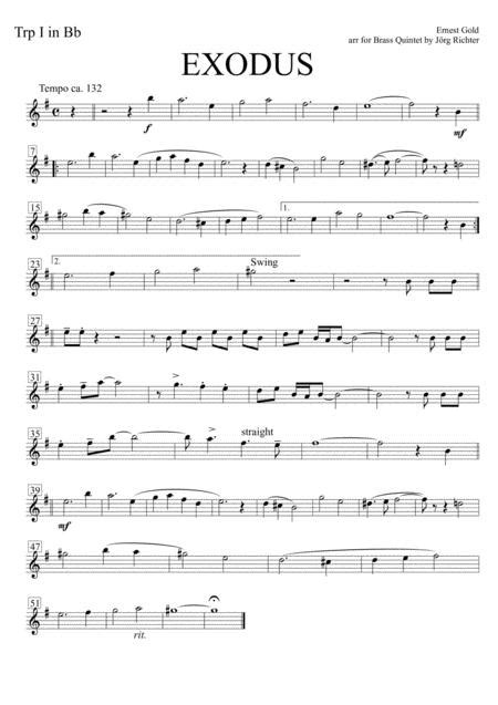 Exodus Soundtrack To The Epic Film For Brass Quintet  music sheet