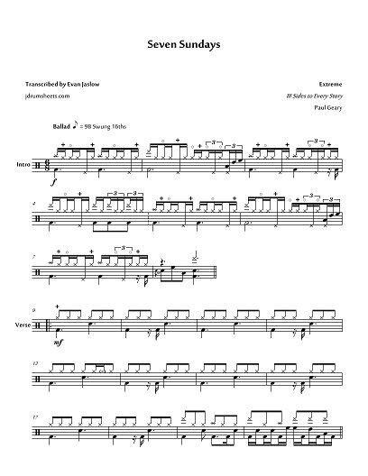 Extreme Seven Sundays  music sheet