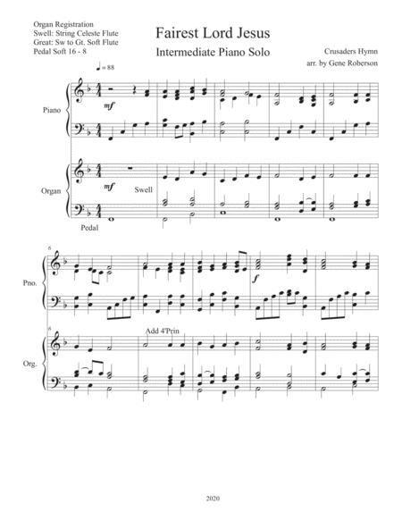 Fairest Lord Jesus Organ Piano Duet  music sheet