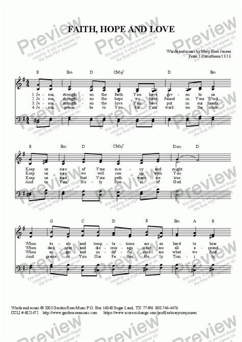 Faith Love Hope  music sheet