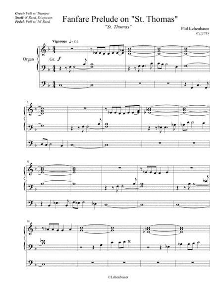 Fanfare Prelude On St Thomas Organ Work By Phil Lehenbauer music sheet