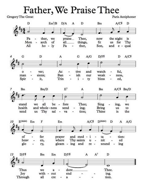 Father We Praise Thee Trumpet  music sheet
