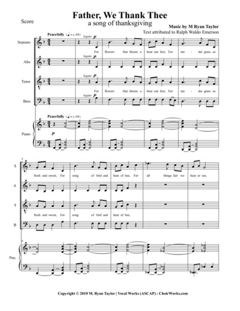 Father We Thank Thee Satb And Piano  music sheet