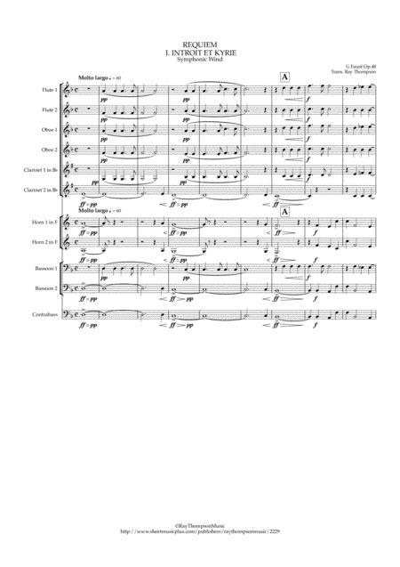 Faur Requiem Op 48 Complete Symphonic Wind Bass  music sheet