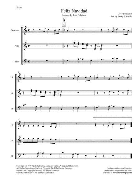 Feliz Navidad As Sung By Jose Feliciano  music sheet