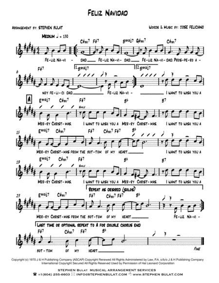 Feliz Navidad Jose Feliciano Lead Sheet Key Of Bb  music sheet
