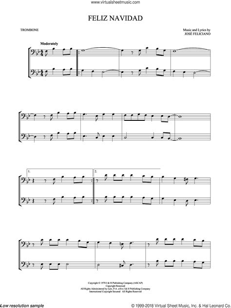 Feliz Navidad Trombone  music sheet