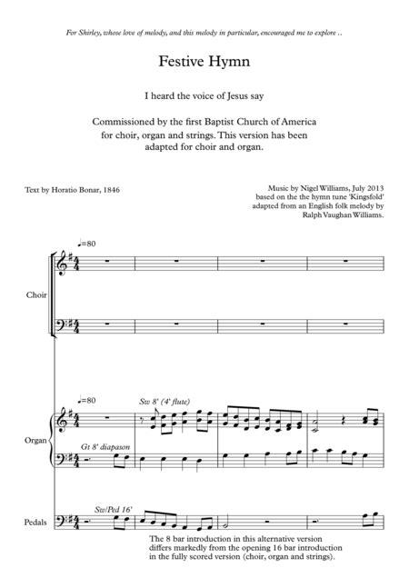 Festive Concertato Hymn Kingsfold I Heard The Voice Of Jesus Say For Satb Choir And Organ  music sheet