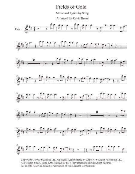 Fields Of Gold Original Key Flute  music sheet